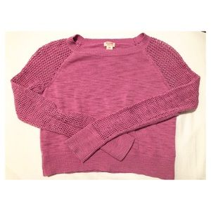Cropped Pink Fishnet Sweater